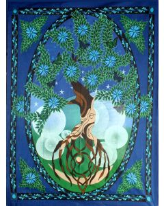 """COTTON TAPESTRY TREE OF LIFE 58x82"""""""