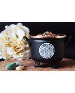 Black Cauldron Flower of Life 10x11cm with copper Lid