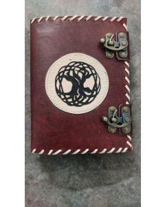 Vintage Leren Dagboek Tree of Life met dubbel schuifslot