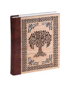 Vintage Leren Dagboek Tree Of Life met houten kaft