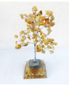 Edelsteenboom met Gouden Kwarts Pyramid Base 100 Edelstenen