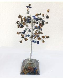 Edelsteenboom met Tijgeroog & Lapis Lazuli Combo 100 Edelstenen