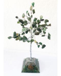Edelsteenboom met Groene Jade Orgone Pyramide Basis 100 Edelstenen