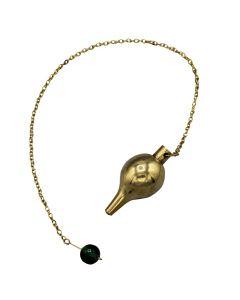 Brass Luzi Pendulum with Green Bead