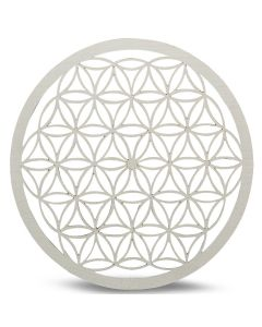Wood Crystal Grid Tray Flower of Life White 20 cm