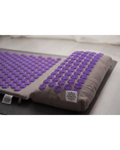 Acupresure Neck Pillow Grey With Purple Spike (Om Lotus)