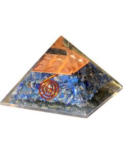 Orgonite Pyramid Lapis Inside With Copper Spiral & Pyramid 7