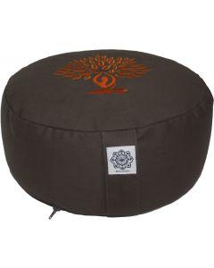 Meditation Cushion Round Dyded Cotton Yoga Tree Orange