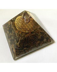 Orgoniet Pyramide Tijgeroog met Flower of Life en kristal