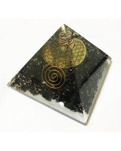 Orgoniet Pyramide Zwarte Tourmalijn met Flower of Life en Reiki symbool
