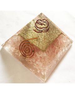 Orgoniet Pyramide Roze Kwarts met Reiki symbool & Spiraal
