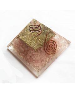 Orgoniet Pyramide Roze Kwarts met Reiki symbool & Spiraal (40-45mm)