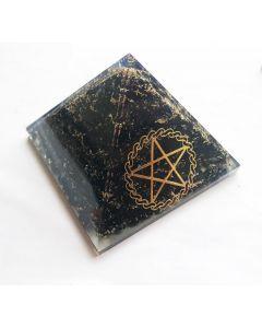 Orgoniet Pyramide Zwarte Tourmalijn met Pentagram, Reiki symbool & spiraal