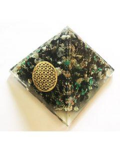 Orgoniet Pyramide Chrysocolla met Flower of Life (40-45mm)
