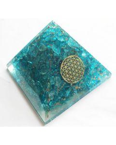 Orgoniet Pyramide Blauwe Topaas met Flower of Life