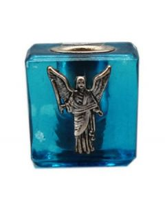 GLASS CUBE MINI CANDLE HOLDER- TURQUOISE-URIEL