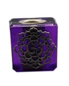 GLASS CUBE PURPLE CANDLE HOLDER-CROWN