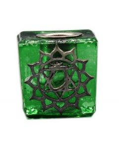 GLASS CUBE GREEN CANDLE HOLDER-HEART