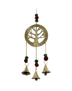 BELLS-TREE WITH GREEN GLASS BEADS AND RUDRASHKA
