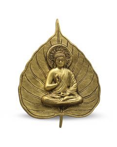 Buddha on Leaf Hanging (Green with Yellow Powder Finish)