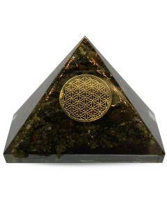 Orgonite Pyramid - Epidot, Flower Of Life 6cm