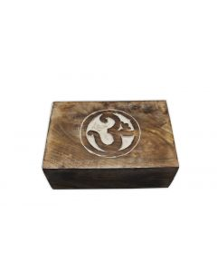 OM - handcrafted wooden tarotbox white wash