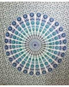 "Cotton Tapestry Double  90""x 90"" LOTUS MANDALA (blue & green"