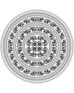 "Round Cotton Tapestry 72"" ELEPHANT (black & white)"