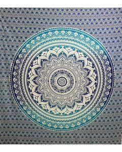 "Cotton Tapestry Double  90""x 90"" LOTUS MANDALA (blue )"