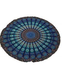 "Round Cotton Tapestry 72"" Mandala (blue)"