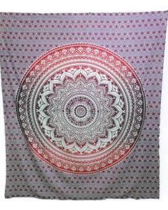 "Cotton Tapestry Double  90""x 90"" LOTUS MANDALA (pink)"