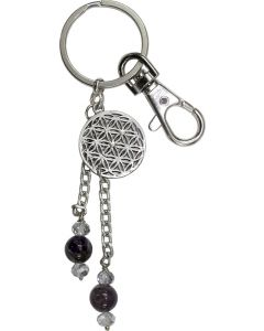 KEY CHAIN FLOWER OF LIFE WITH AMETHYST