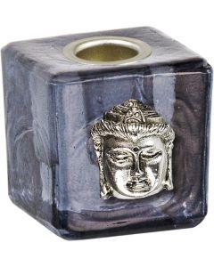 GLASS CUBE MINI CANDLE HOLDER-BLACK+BUDDHA