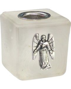 GLASS CUBE MINI CANDLE HOLDER- FROSTED-CAMAEL