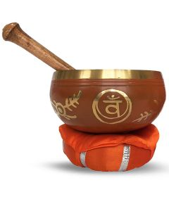 Brass Singing Bowl with stick & Cusion  12 cm Sacral Chakra