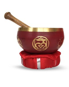Brass Singing Bowl with stick & Cusion 12 cm Root Chakra  //