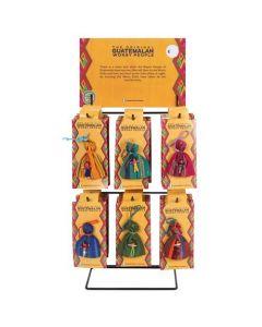 Display of 36 worry dolls
