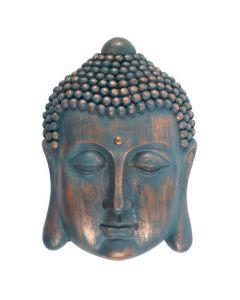 Blauw Wandbord Boeddha Hoofd