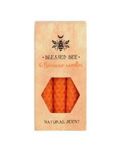 Pack of 6 'Orange' Beeswax Spell Candles