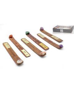 Wood Incense Holder Assorted Stones Set of 20