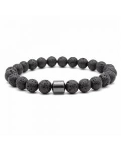 Black Lava Hematite Stone Bracelet 8mm