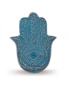 Aluminium Enamel Color Turqoise Fatima Hand Incense Holder