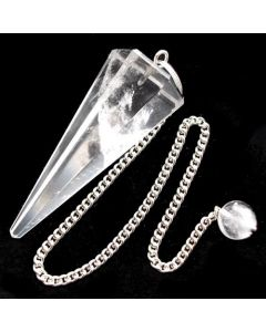 6 Faceted Pendulum Clear Quartz Crystal