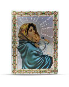 Aluminium Plate Virgin Mary And Jesus 21 X 30