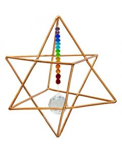 Copper Hanging Merkaba With Crystal Ball 6in