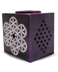Flower of life on spiritual purple soapstone aromaburner