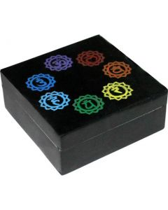 "SOAPSTONE BOX - 7 Chakra Symbols in Circle 4"" x 4"" --3016802"