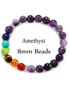 Amethyst 7 Chakra bracelet 8mm
