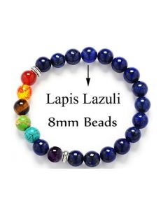 Seven Charka Lapis Lazuli Bracelet 8mm