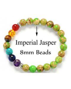 Seven Chakra Imperial Jasper 8mm bracelet
